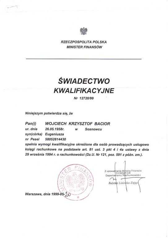 Świadectwo Kwalifikacyjne nr 12720/99 Wojciech Bacior