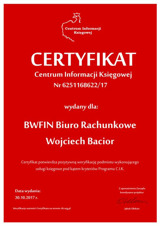 Certyfikat Księgowy C.I.K. - Certyfikowane Biuro Rachunkowe BWFIN Wojciech Bacior